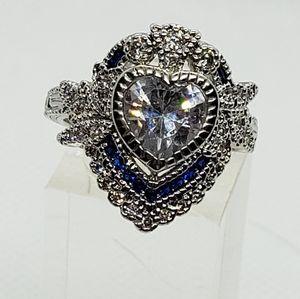 Beautiful Silver sapphire heart ring